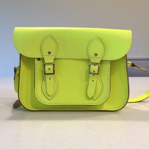 Neon Yellow Leather Satchel Crossbody